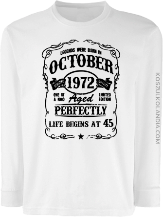 Legends were born in October Aged Perfectly - Longsleeve dziecięcy biały