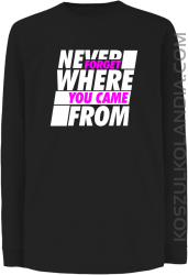 Never forget where you came from - Longsleeve dziecięcy czarny