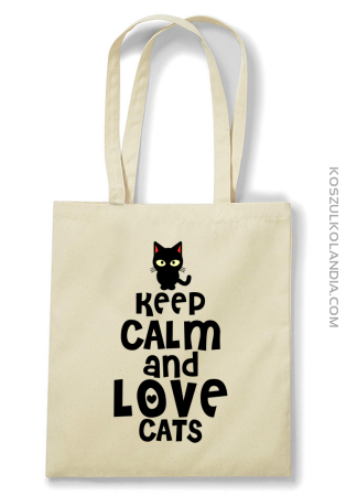 Keep calm and Love Cats Czarny Kot Filuś - Torba EKO