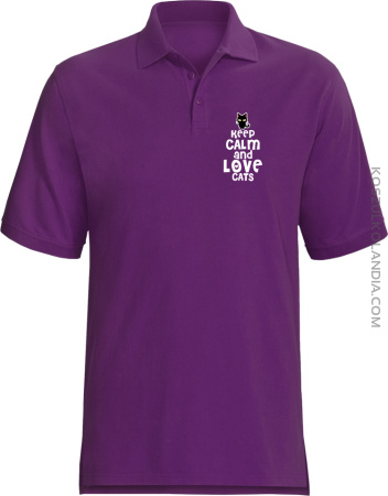 Keep calm and Love Cats Czarny Kot Filuś - Koszulka męska Polo