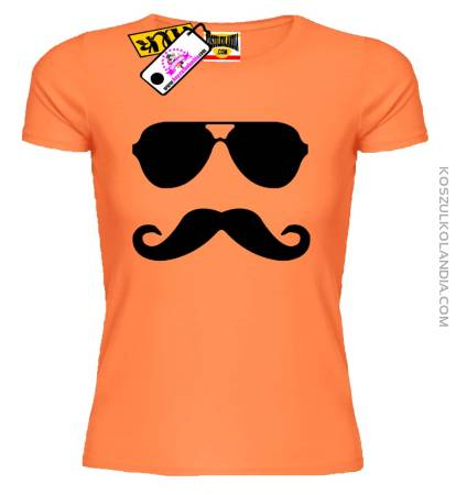 Okulary, wąsy  - Koszulka Damska