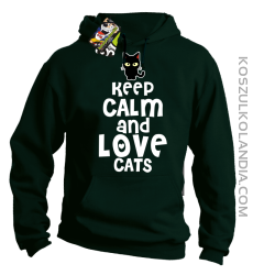 Keep calm and Love Cats Czarny Kot Filuś - Bluza męska z kapturem butelkowa