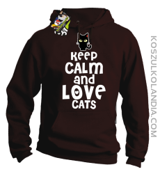 Keep calm and Love Cats Czarny Kot Filuś - Bluza męska z kapturem brąz