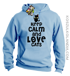 Keep calm and Love Cats Czarny Kot Filuś - Bluza męska z kapturem błękit