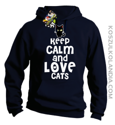 Keep calm and Love Cats Czarny Kot Filuś - Bluza męska z kapturem granat