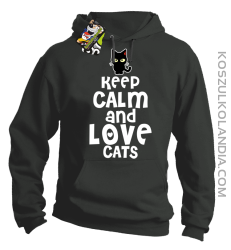 Keep calm and Love Cats Czarny Kot Filuś - Bluza męska z kapturem szara