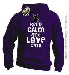 Keep calm and Love Cats Czarny Kot Filuś - Bluza męska z kapturem fiolet