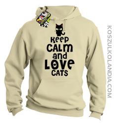 Keep calm and Love Cats Czarny Kot Filuś - Bluza męska z kapturem beżowa