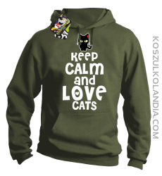 Keep calm and Love Cats Czarny Kot Filuś - Bluza męska z kapturem khaki