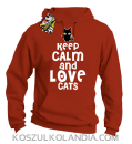 Keep calm and Love Cats Czarny Kot Filuś - Bluza męska z kapturem