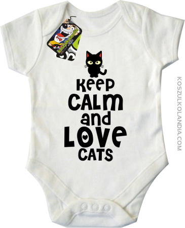 Keep calm and Love Cats Czarny Kot Filuś - Body dziecięce