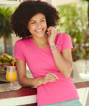 KOSZULKA damska Fruit of the Loom LADY-FIT V-NECK  -  61-382-0