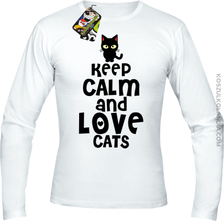 Keep calm and Love Cats Czarny Kot Filuś - Longsleeve męski
