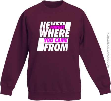 Never forget where you came from - Bluza dziecięca standard bez kaptura