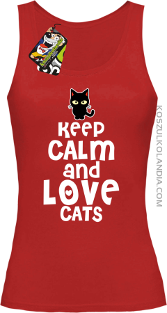 Keep calm and Love Cats Czarny Kot Filuś - Top damski