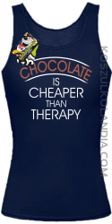 Chocolate is cheaper than therapy - Top damski granat