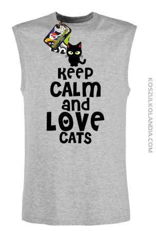 Keep calm and Love Cats Czarny Kot Filuś - Bezrękawnik męski