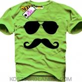 Okulary, wąsy  - Koszulka Męska