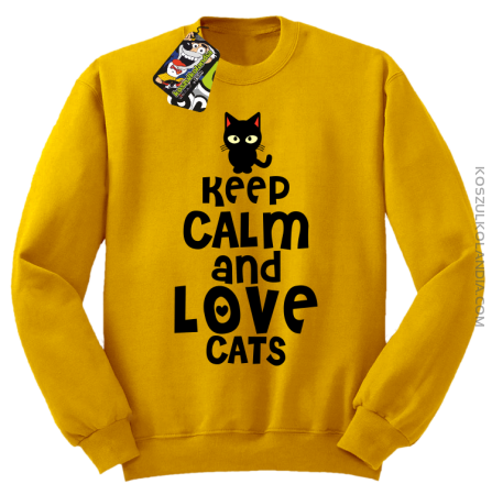 Keep calm and Love Cats Czarny Kot Filuś - Bluza męska standard bez kaptura