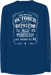 Legends were born in October Aged Perfectly - Longsleeve dziecięcy niebieski