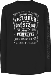 Legends were born in October Aged Perfectly - Longsleeve dziecięcy czarny