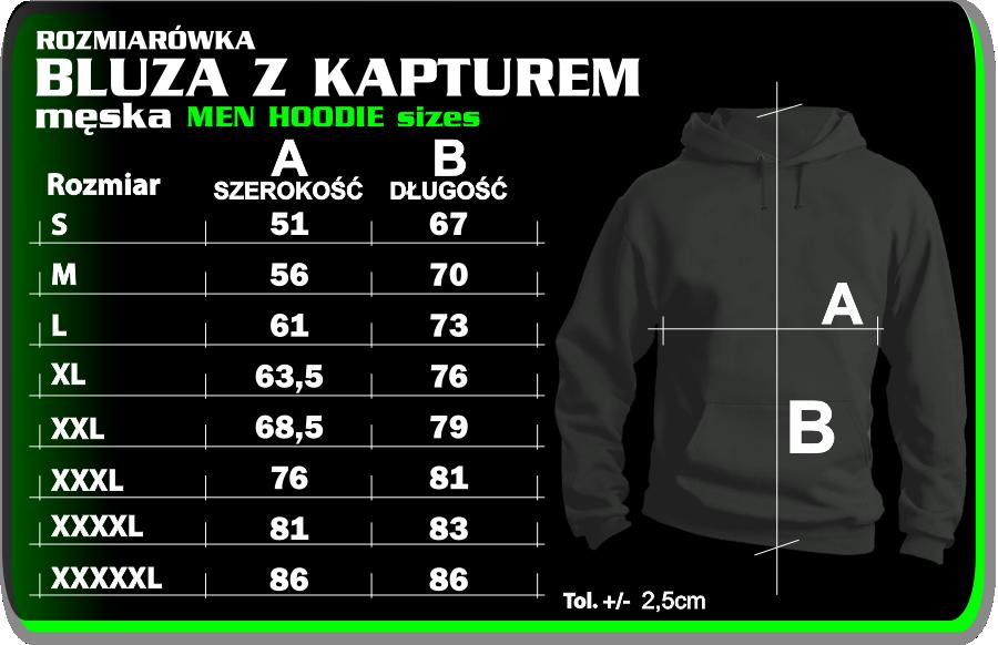 bluzy z kapturem kangurka rozmiarówka hoodie sweatshirt table size
