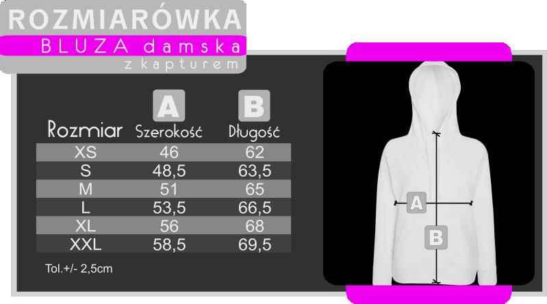 rozmiarówka damska size tabel woman girl koszulkolandia koszulki z nadrukiem
