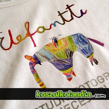 elefantii przykład nadruku na koszulce