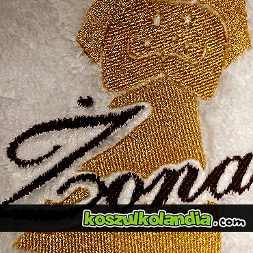 haftowanie na ręcznikach hafty na szlafroku złota nić haft profesjonalny na odzieży