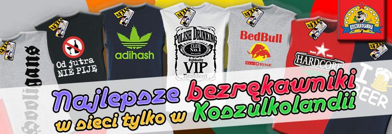 Bezrękawniki MĘSKIE TANK TOP koszulki z oryginalnymi nadrukami SUPER na prezent