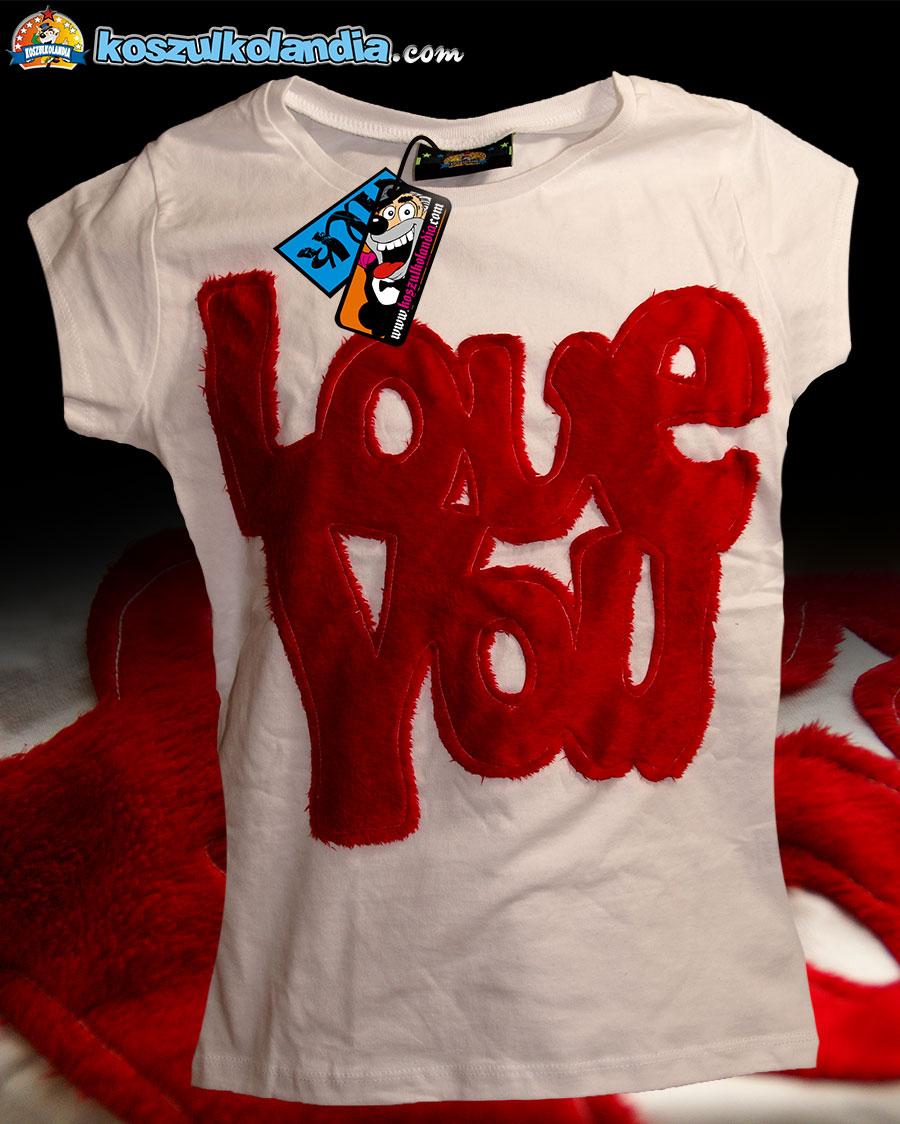 LOVE YOU koszulka made in KOSZULKOLANDIA Dzianina RED CZERWONA KOSZULKA